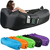 KOR Outdoors Inflatable Air Lounger/Sofa - Heavy Duty Nylon Fabric - No-Pump Camping, Beach, Outdoor Lounge Couch with Headrest, Large and Small Mesh Pockets - with Storage Bag, Stake