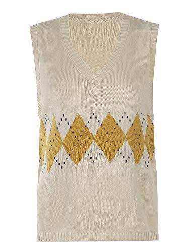 Chaleco de punto de las mujeres de moda, suéter suelto sin mangas con cuello en V con patrones...