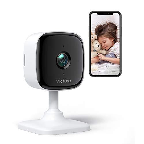 Victure 1080P Alexa Cámara de WiFi Vigilancia Interior, Vigilancia con Bebé Cámara IP Alarma Vigilabebés con Visión Nocturna, Detección de Movimiento y Sonido, Compatible con iOS/Android