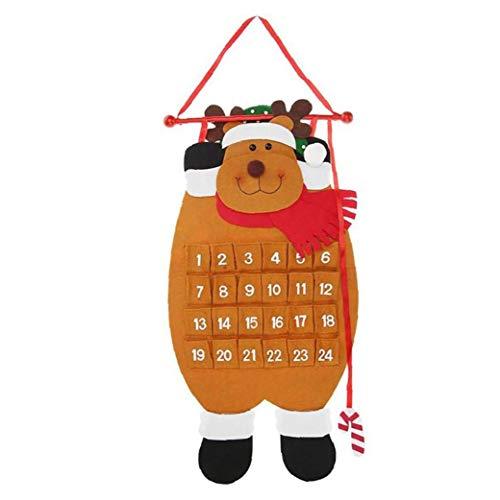 TYY-guang 1pc Adviento Calendario de la Navidad 3D Fieltro Colgantes Calendario de Adviento Reutilizable Decoraciones de Navidad Ornamento Cuenta atrás para Calendario de Navidad para los niños, Elk