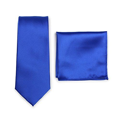PUCCINI Krawatte + Einstecktuch │ Einfarbig/Uni in ausgewählten Farben │ Handarbeit (Blau)