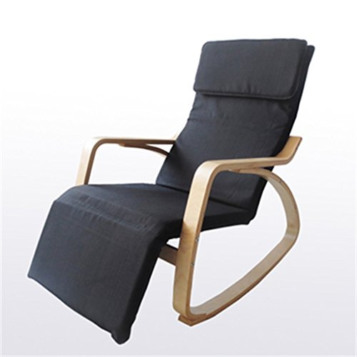 Tabouret en bois Fauteuil à bascule chaise longue Chaise de loisirs nordique chaise longue chaise à bascule balcon solide bois tissu unique chaise d'intérieur/Tissu en coton - noir