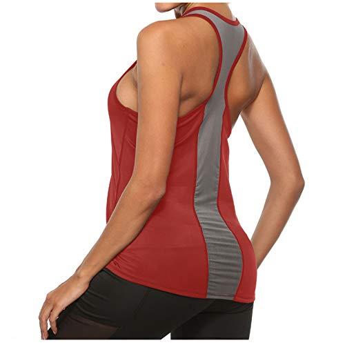 XUNN Top da donna, alla moda, sexy, sportivo, per yoga, crop canotta con tasche, per fitness, running, da donna, Colore: rosso, M