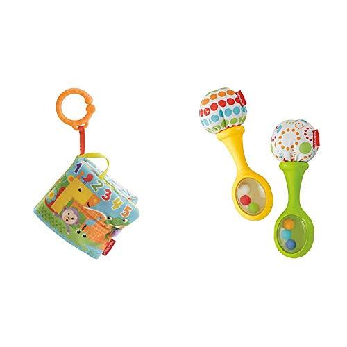 Fisher-Price Libro Activity bebé, Juguete Colgante para bebé recién Nacido (Mattel FGJ40) + Maracas Musicales, Juguete y sonajero para bebé +3 Meses (Mattel BLT33)