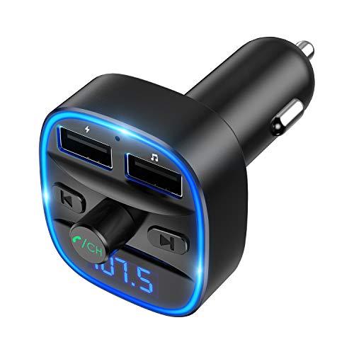 【2019 Neue】Criacr Bluetooth FM Transmitter, Auto Radio Bluetooth Adapter mit Freisprecheinrichtung, 2 USB Anschlusses 5V/2.4A, Blaue Umgebende Leuchte, Unterstützt TF Karte & USB-Stick Musik Spielen
