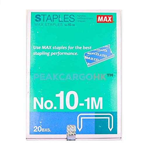 20 Boxes (20,000-Staples) Authentic Max Staples No.10-1M for Office Stapler