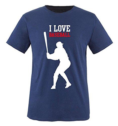 I Love Baseball - Kinder T-Shirt - Navy/Weiss-Rot Gr. 152-164