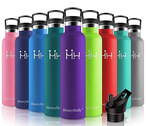 HoneyHolly Botella de Agua Acero Inoxidable 1000ml, Aislamiento de Vacío de Doble Pared, Botellas de Frío/Caliente, sin bpa Botella Reutilizable para niños Sport Gimnasio Trekking Bicicleta