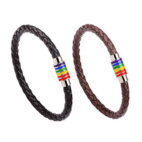 Juland 2 Stück LGBT Regenbogen Armband Leder Geflochtenes Edelstahl Charm mit Magnet Verschluss Leder Homosexuell Gay & Lesbian Pride Armreif - Schwarz und Braun