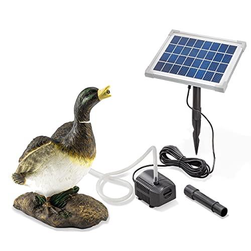 Solarbetriebener Wasserspeier Ente - inkl. Solar Teichpumpe 5 Watt 250 l/h - Maße ca. 240 x 200 x 320 mm - Wasserspiel für Gartenteich Teichfigur Gartenbrunnen, esotec 101659