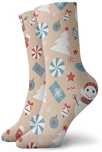 Divertido patrón de Navidad colorido con calcetines de muñeco de nieve calcetines al aire libre para unisex