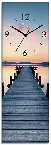 Artland Wanduhr ohne Tickgeräusche aus Glas Quarzuhr 20x60 cm Rechteckig Lautlos Natur See Steg Sonnenaufgang Urlaub Modern T9QL