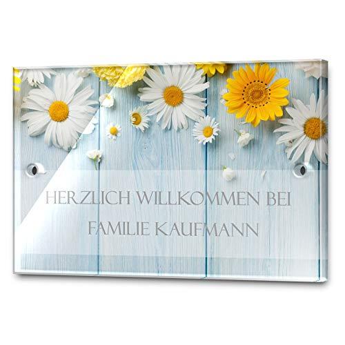 Edles Türschild mit Namen für die Haustür | Namensschild Briefkasten-Schild selbstklebend oder mit Bohrlöcher Klingelschild mit kratzfestem UV Druck | Größe ab 9x6 cm bunte Türschilder