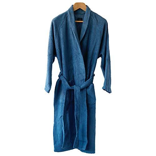 「BATHLIER Robe」サッと着られるバスローブ(ネイビー) レディース メンズ タオル地 タオル生地 薄手 速乾 かわいい 軽い吸水 高級 寝巻き 紐 ふわふわ 前開き もこもこ ルームウェア