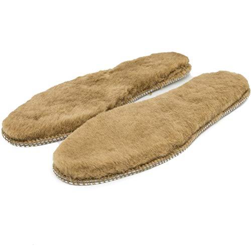 ABSoft Schuhpads für den winter natürliche Borsten sehr warm echte Haut Warme Isolierende Winter Schuheinlagen (Braun, 43)