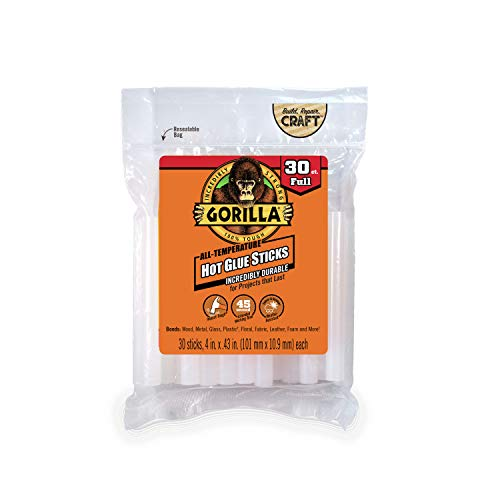 Gorilla Hot Glue Sticks, Full Size, 4 Long x .43 Diameter, 30 Count, Clear, (Pack of 1)