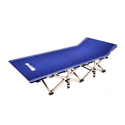 Dall Lits de Camp Lit Pliant Lit De Camping Bureau Pause Déjeuner Lit Siesta Chaise Longue Camp De Plein Air (Couleur : Bleu)
