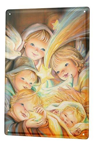 LEotiE SINCE 2004 Blechschild Wandschild 30x40 cm Vintage Retro Metallschild Religion Krippe Komet Tauben Kinder