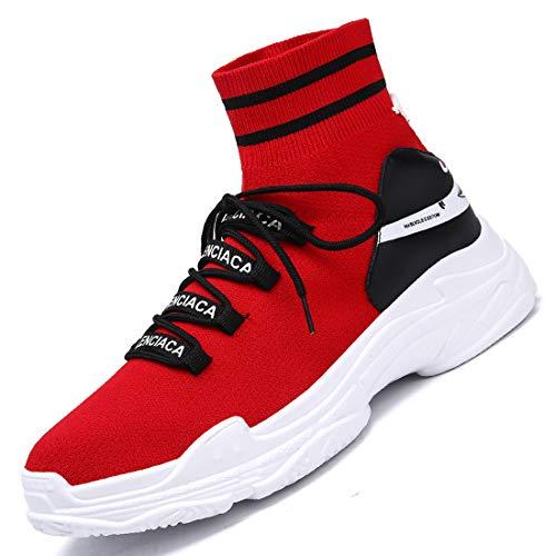 Sneaker Alte Antiscivolo Unisex Indoor e Outdoor Calzini Scarpe da Ginnastica Scarpe Sneakers in Maglia Red 38