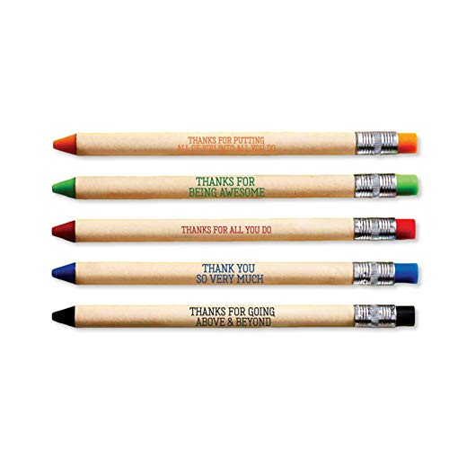 5 Pack of Pencil Lookalike Pens - Thank You Gift - Ballpoint Black Ink - Environmentally Friendly - Gift for Employee Appreciation