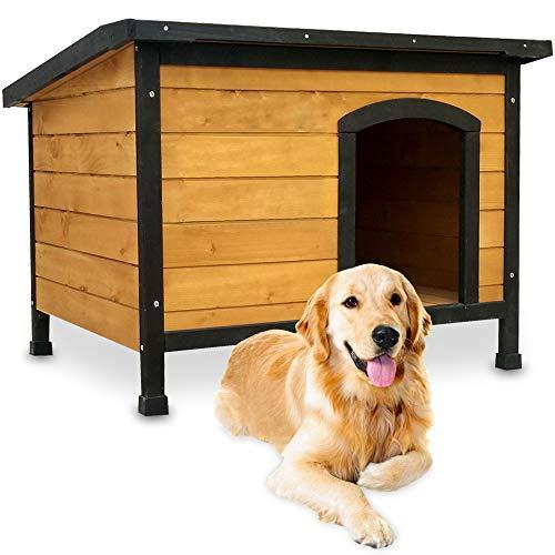 zooprinz wetterfeste Hundehütte Rex - aus massivem Holz und Dach zum Öffnen - perfekt für draußen - mit umweltfreundlicher Farbe gestrichen - 3 Größen zur Wahl (Braun, Größe XL)