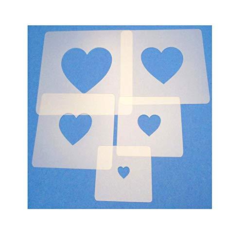 Schablonen Set ● 5 einzelne Herzen ● 1 cm, 2cm, 3cm, 4cm, 5cm groß