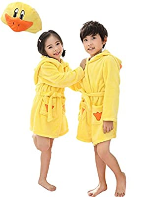 EPLAZA 3-6 Year Girl Boy Flannel Hooded Cute Animal Robe Sleepwear Kid Bathrobe Convertible Pillow