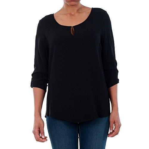 VERO MODA Damen VMBUCI 3/4 FOLD-UP TOP NOOS Bluse, Schwarz (Black), 34 (Herstellergröße: XS)
