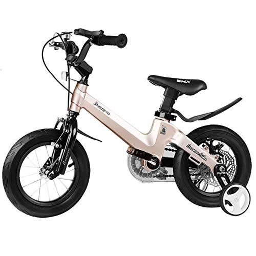 TOOSD bicycle Bicicleta para niños de aleación de magnesio 3-5-6-10-12 años de Edad Niño y niña Frenos de Doble Disco 14-16 Pulgadas Bicicleta de Estudiante portátil