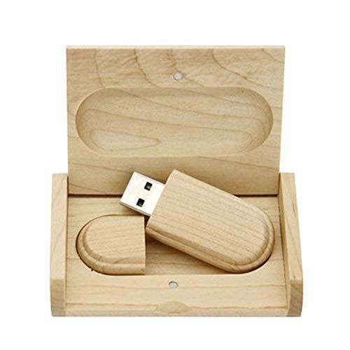 Chiavetta USB 2.0/3.0 in legno d'acero, con scatola di legno 3.0 128GB