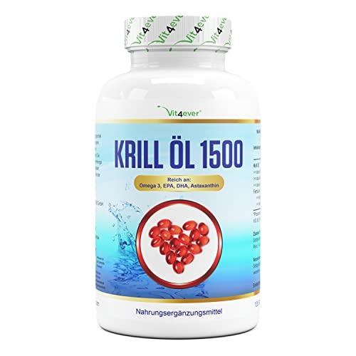 Olio di krill - 135 capsule - Premium: Olio di krill antartico - Ricco di EPA + DHA + Astaxantina + Fosfolipidi + Acidi grassi Omega 3 - Basso contenuto di inquinanti