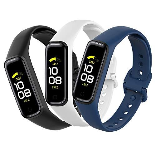 Mijobs 3 Piezas Compatible para Samsung Galaxy Fit 2 Correas, Correas Samsung Galaxy Fit 2 Reemplazo Pulsera Impermeable Transpirable Resistente al Sudor Silicona Pulsera Correa (No Host)