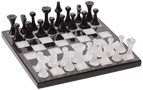 LUHOM LUJOSO HOGAR MEXICO Edles Schachspiel aus schwarzem Naturmarmor und weißem Onyx, 20 cm x 20 cm groß