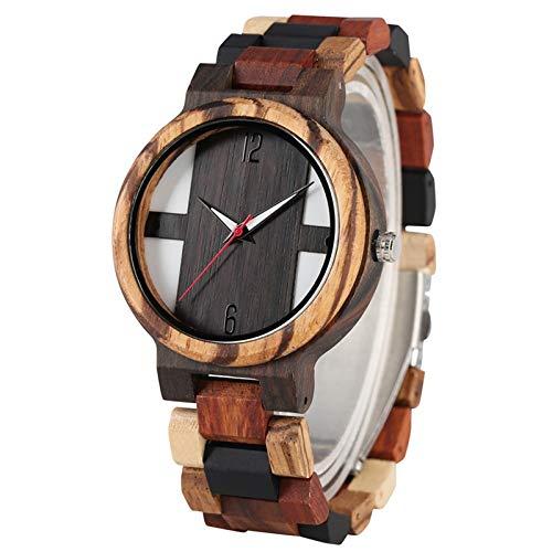 UIOXAIE Reloj de Madera Relojes de Madera para Hombre Antiguos Reloj de Madera de ébano Vintage Reloj de Cuarzo con Banda Ajustable de Madera de Color Mixto único para Hombre, Madera