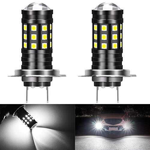 KATUR H7 LED Ampoules antibrouillard 3030 puces 2700 lumens avec projecteur pour la Conduite de Feux de Jour DRL ou Feux de Brouillard, 6500K Xenon White (Pack de 2)
