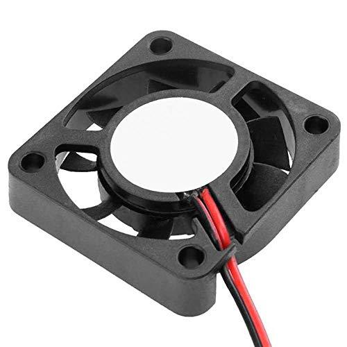 OcioDual Ventilador 12V 2 Cables Reprap Impresora 3D Prusa Fan Cooler 40x 40x 10 mm Negro