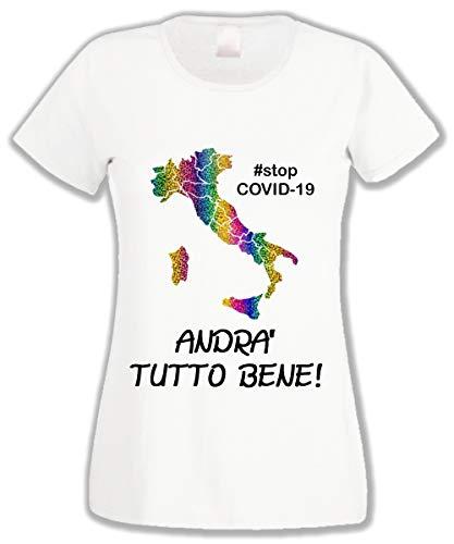 L'Arcobaleno di Luci - T-Shirt Donna ANDRà Tutto Bene Italia Arcobaleno Glitter Stop Covid-19 Coronavirus (Bianco, XL)