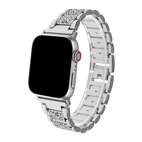 Alta calidad compatible con bandas Apple Watch de 38 mm, 40 mm, 42 mm, 44 mm, correa de repuesto compatible con Iwatch Series 5/4/3/2/1 Anti-sudor Y durable (color: plata, tamaño: 40 mm).