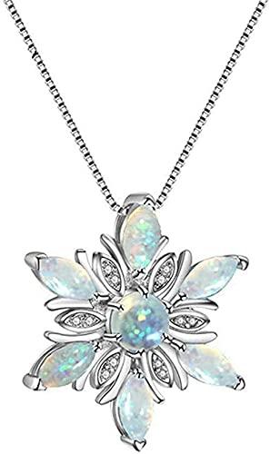 Yiffshunl Collar Collar Elegante Collares con Colgante de Flor de ópalo de Fuego para joyería de circón de Boda (Blanco (