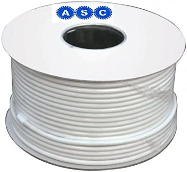 Aerials, Satellites and Cables - Cable coaxial digital de antena RG6 para TV con pinzas, 100 m, color blanco