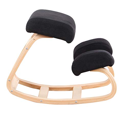 Kneeling Position Chair Spine Correction Chair Leisure Chair Balance Straightening Chair Fashionable Swing Chair Reading Chair Orthopedic Wooden Stool with Posture Structure with Good Posture (Black)