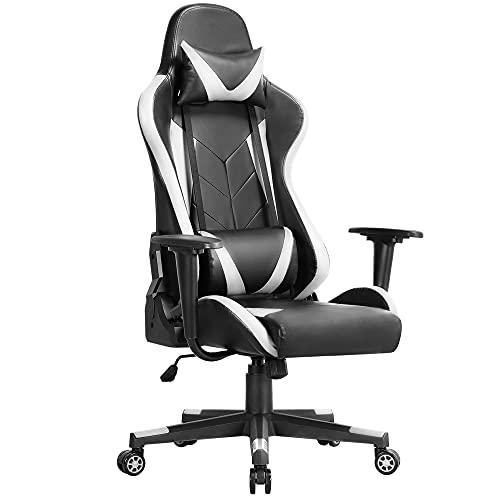 Yaheetech Gaming Stuhl Racing Stuhl Bürostuhl Hoch Rücken Computerstuhl Ergonomisches DesignDrehstuhl mit Kopfstütze und Lendenkissen Kunstleder Weiß