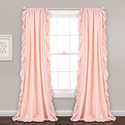 """Lush Decor Reyna Window Curtains Panel Set for Living Room, Dining Room, Bedroom (Pair), 84"""" x 54"""", Blush Pink"""