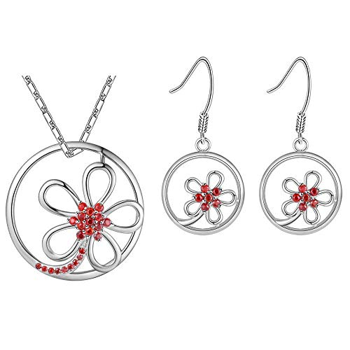 Pendant Elegant Women Jewelry Set White Gold Plated Necklace Earrings Set Openwork Circle Shape Flower Model Design with Zirconia Snake Chain 45CM