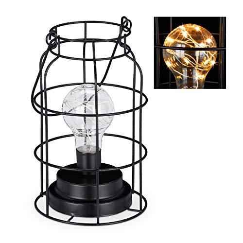 Relaxdays Lámpara de mesa vintage, lámpara de rejilla con bombilla LED, blanco cálido, batería, diseño industrial, color negro