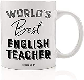 World's Best English Teacher Coffee Mug End of School Year Gift Idea Reading Writing Teach Students Grammar Literature Cute Christmas Holiday Birthday Present 11oz Ceramic Tea Cup Digibuddha DM0396