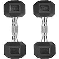 papababe Free Weights Dumbbells Rubber Coated cast Iron HeX Weight Set