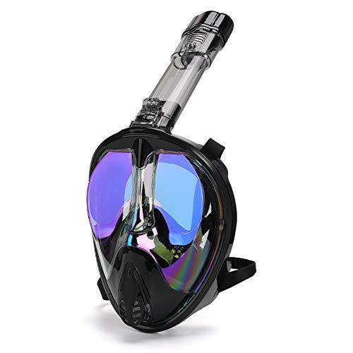 RatenKont Submarino Anti Niebla panorámico Plegado electrochlate con máscara de Snorkel máscara de Snorkel máscara de natación Gafas de Buceo de Buceo de Buceo Black Blue S/M