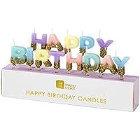 Talking Tables Wax, Dipped In Glitter Feliz cumpleaños, Velas, Cera de Vela, Varios Colores