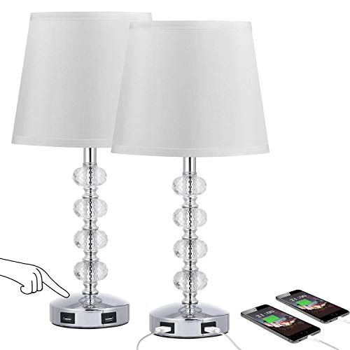 3-Way Dimmable USB Crystal Table Lamp, Seealle 17 Inch Touch Crystal Lamp Set of 2 , Exquisite Decorative Bedside Lamps Set of 2 for Bedroom, Living Room, Nightstand (Warm White Light Bulb Included)…